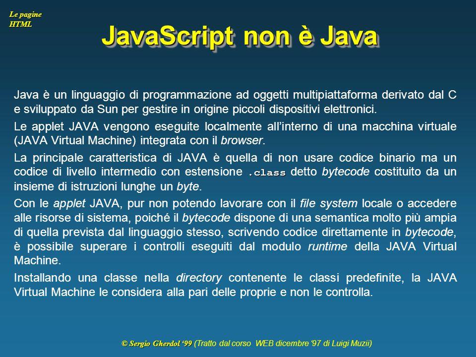 JavaScript non è Java