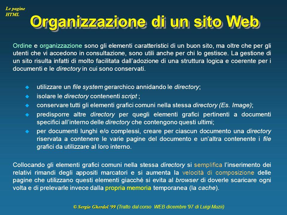 Organizzazione di un sito Web