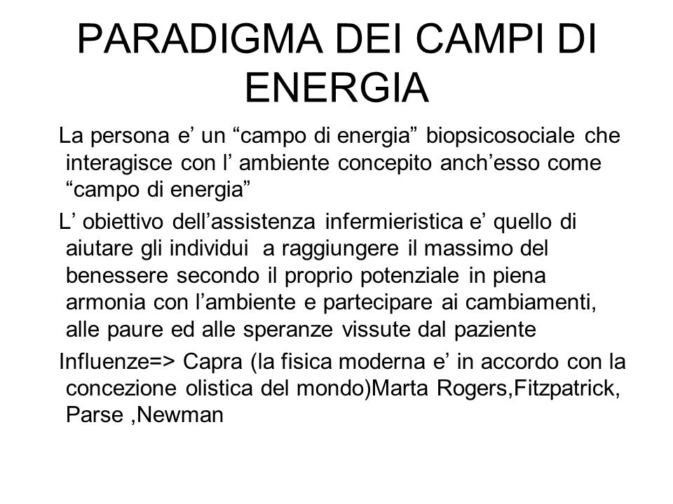 PARADIGMA DEI CAMPI DI ENERGIA