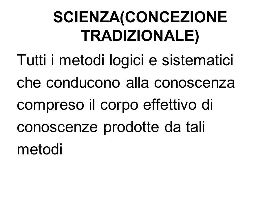 SCIENZA(CONCEZIONE TRADIZIONALE)