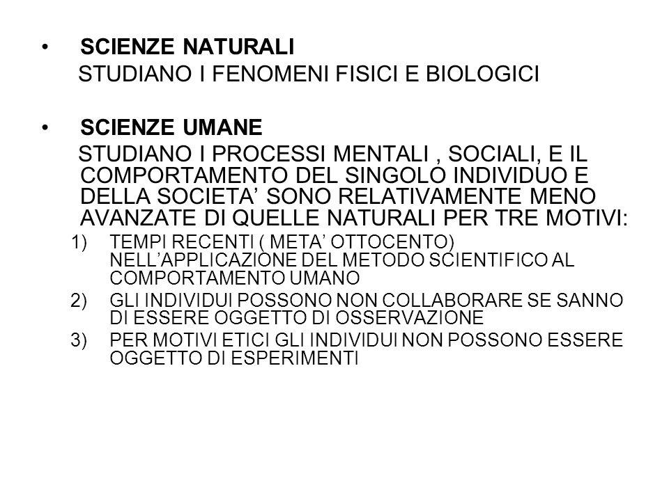 STUDIANO I FENOMENI FISICI E BIOLOGICI SCIENZE UMANE