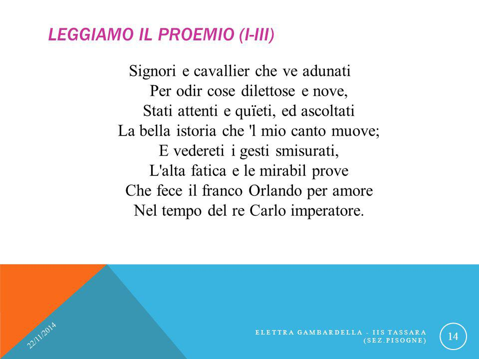Leggiamo il Proemio (I-III)