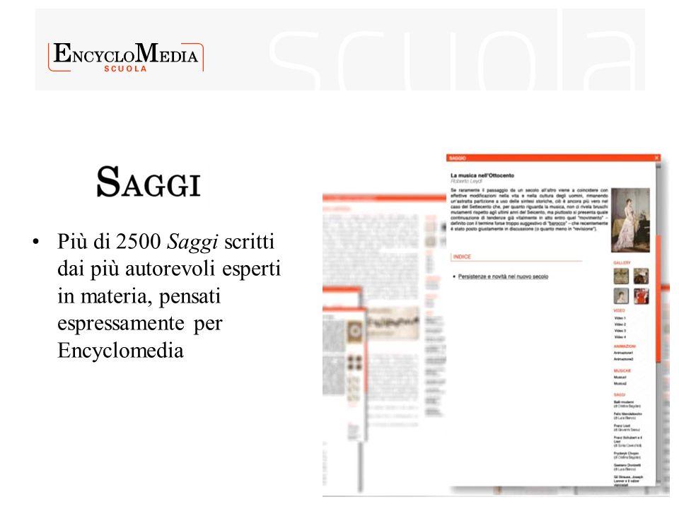 Più di 2500 Saggi scritti dai più autorevoli esperti in materia, pensati espressamente per Encyclomedia