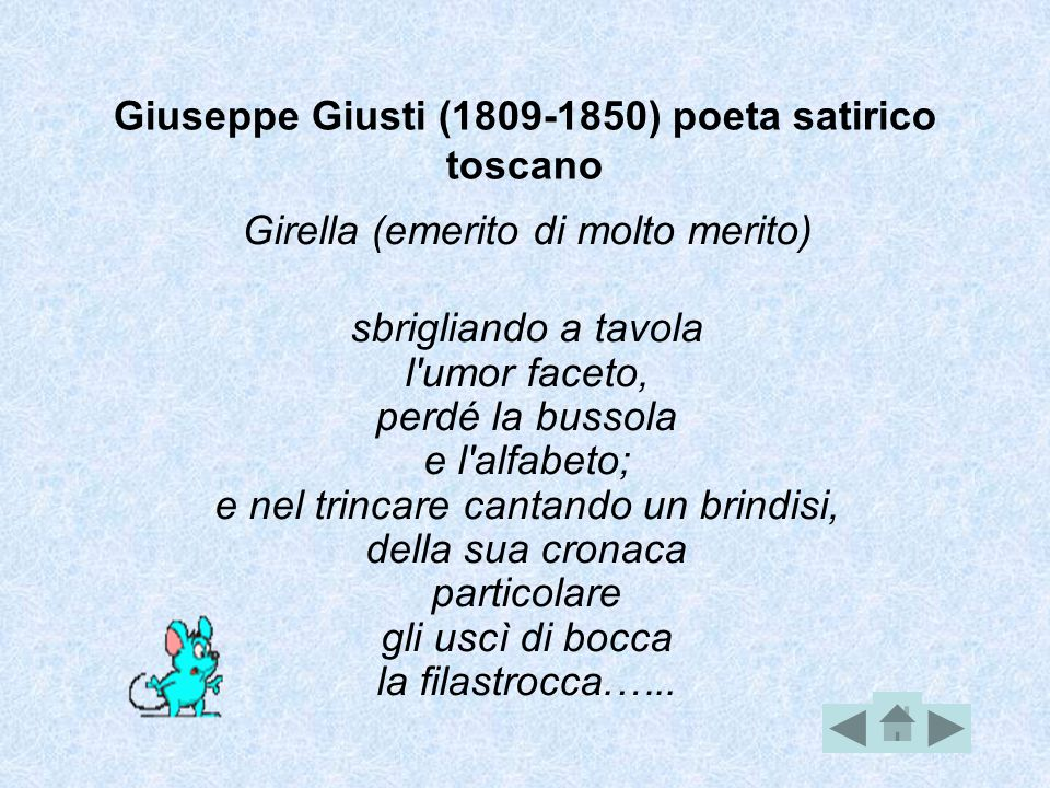 Giuseppe Giusti (1809-1850) poeta satirico toscano