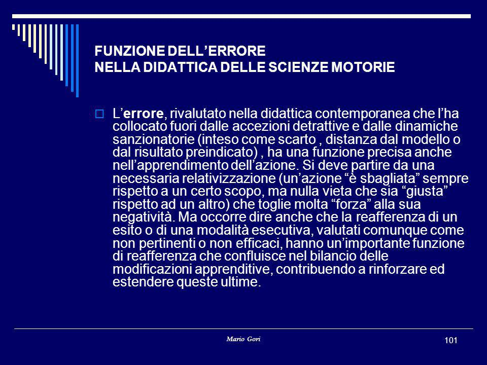FUNZIONE DELL'ERRORE NELLA DIDATTICA DELLE SCIENZE MOTORIE