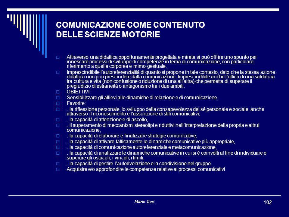 COMUNICAZIONE COME CONTENUTO DELLE SCIENZE MOTORIE