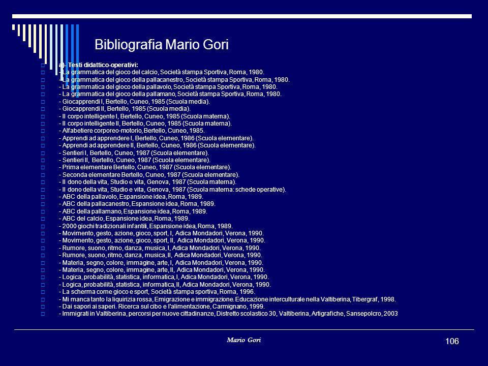 Bibliografia Mario Gori