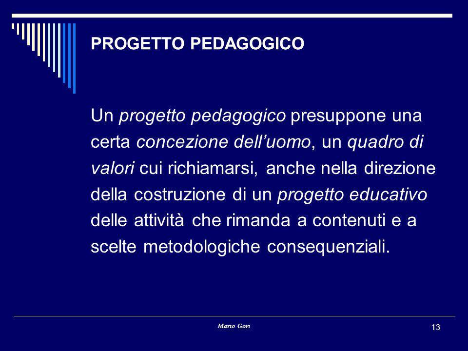 Un progetto pedagogico presuppone una