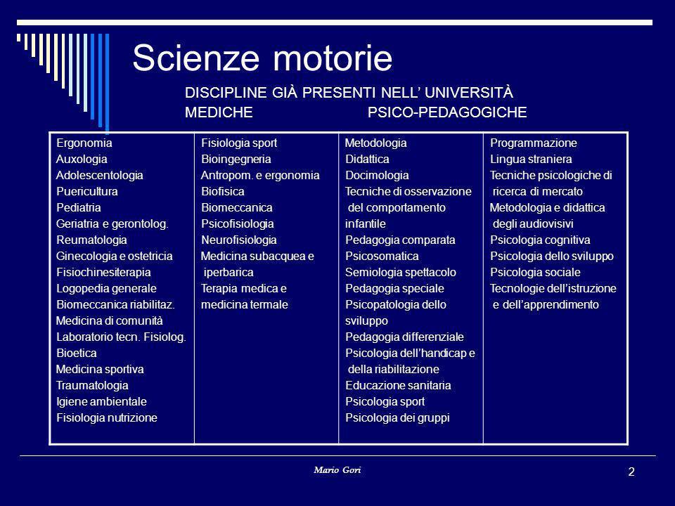 Scienze motorie DISCIPLINE GIÀ PRESENTI NELL' UNIVERSITÀ