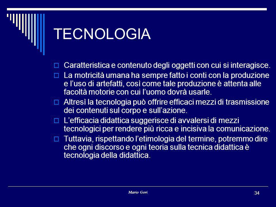 TECNOLOGIA Caratteristica e contenuto degli oggetti con cui si interagisce.