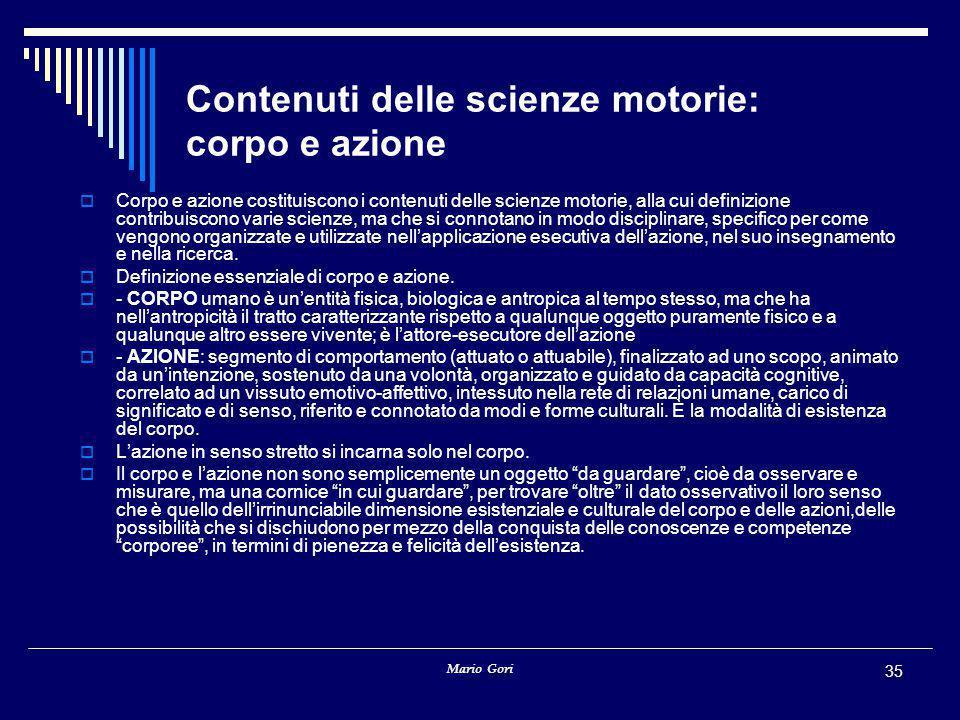 Contenuti delle scienze motorie: corpo e azione