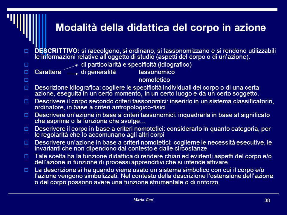 Modalità della didattica del corpo in azione