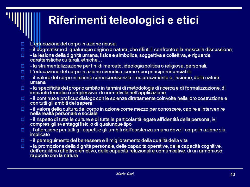Riferimenti teleologici e etici