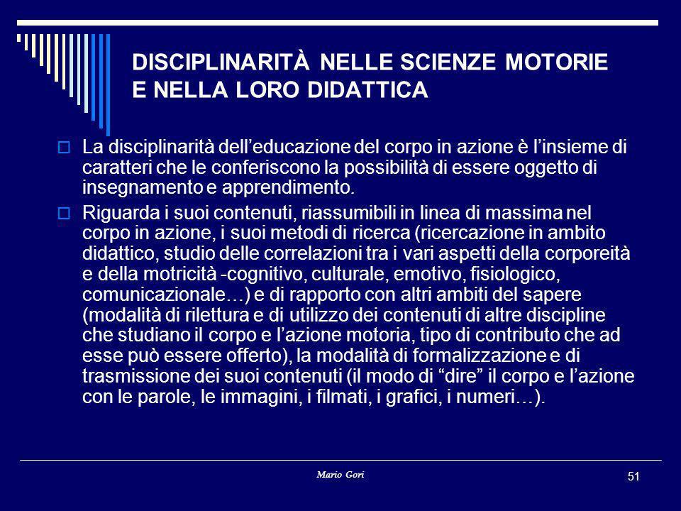 DISCIPLINARITÀ NELLE SCIENZE MOTORIE E NELLA LORO DIDATTICA