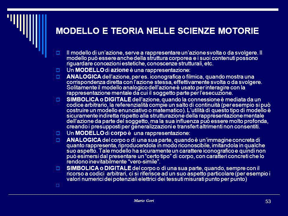 MODELLO E TEORIA NELLE SCIENZE MOTORIE