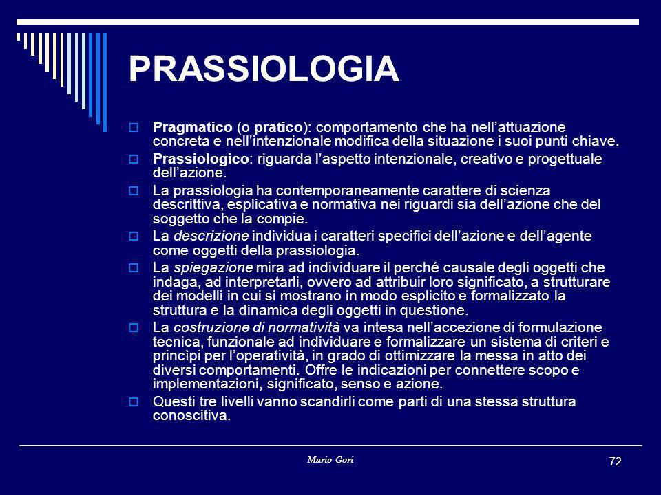 PRASSIOLOGIA Pragmatico (o pratico): comportamento che ha nell'attuazione concreta e nell'intenzionale modifica della situazione i suoi punti chiave.