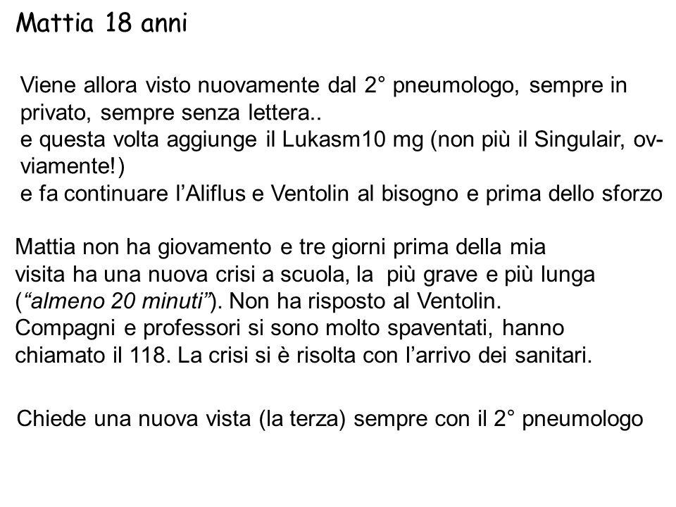 Mattia 18 anni Viene allora visto nuovamente dal 2° pneumologo, sempre in. privato, sempre senza lettera..