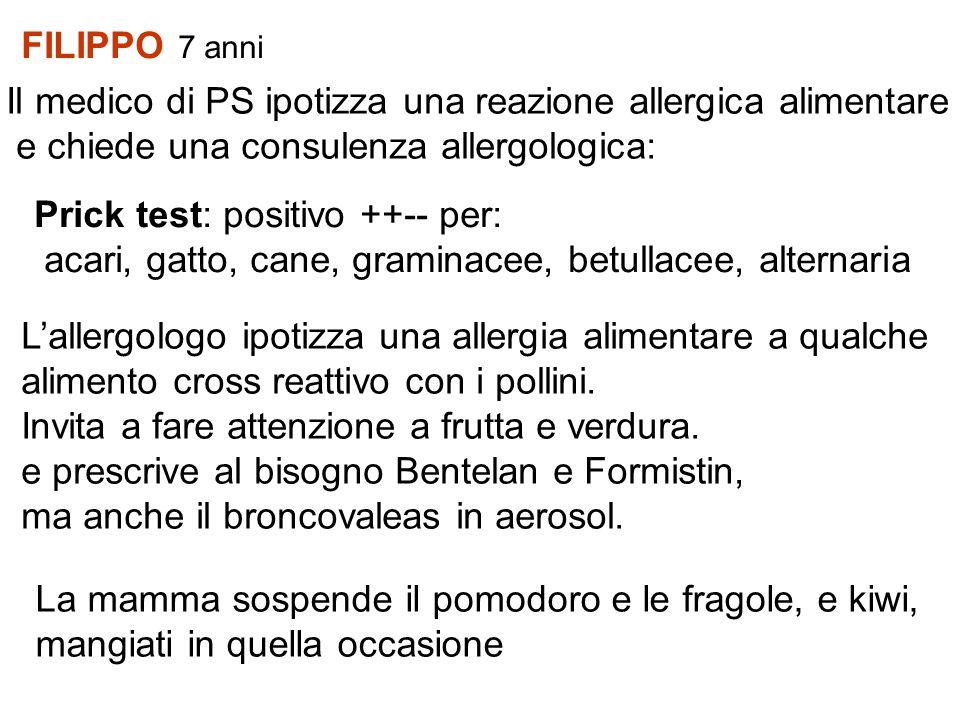 FILIPPO 7 anni Il medico di PS ipotizza una reazione allergica alimentare. e chiede una consulenza allergologica: