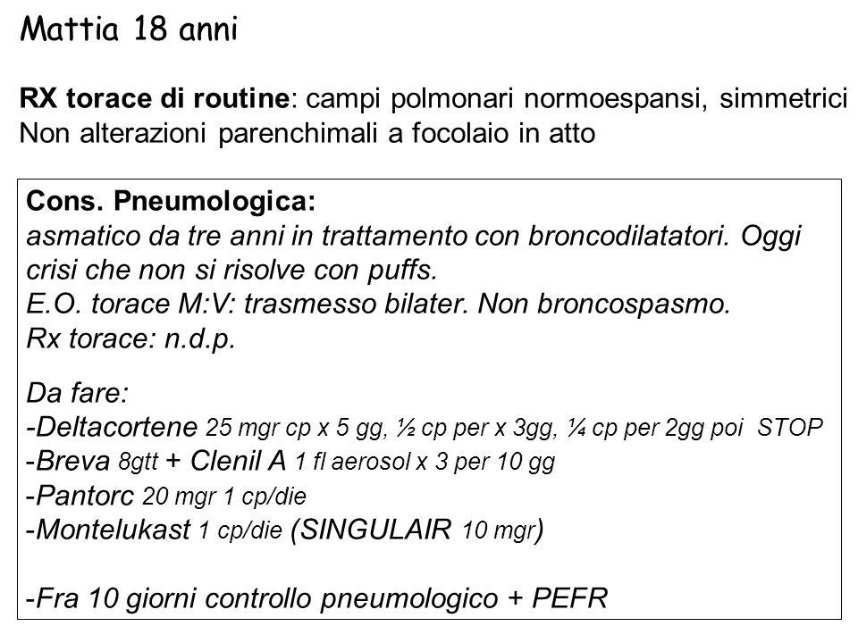 Mattia 18 anni RX torace di routine: campi polmonari normoespansi, simmetrici. Non alterazioni parenchimali a focolaio in atto.