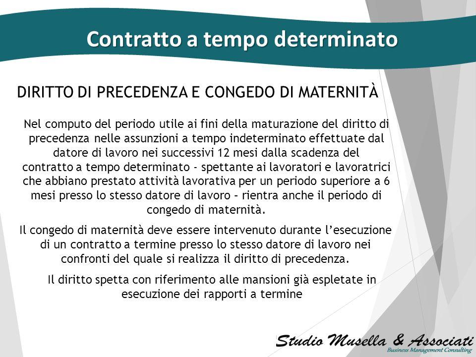 DIRITTO DI PRECEDENZA E CONGEDO DI MATERNITÀ