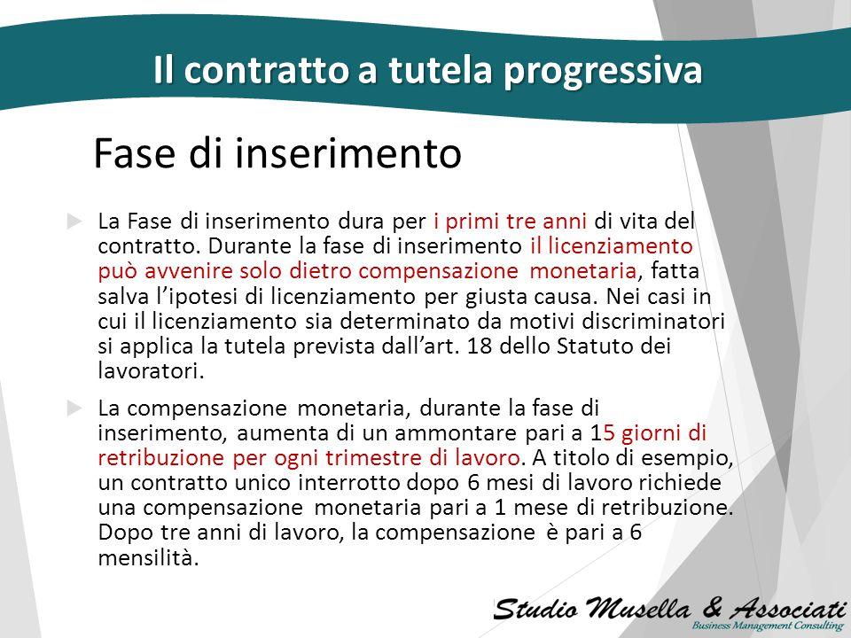 Fase di inserimento Il contratto a tutela progressiva