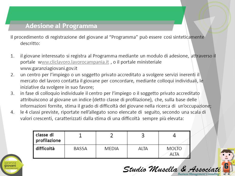 Adesione al Programma Il procedimento di registrazione del giovane al Programma può essere così sinteticamente descritto: