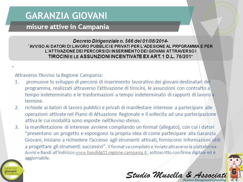 GARANZIA GIOVANI misure attive in Campania