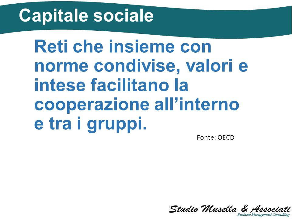 Capitale sociale Reti che insieme con norme condivise, valori e intese facilitano la cooperazione all'interno e tra i gruppi.