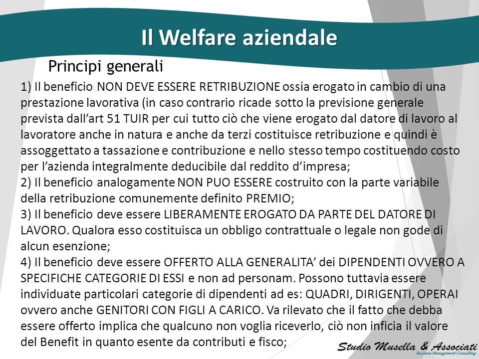 Il Welfare aziendale Principi generali