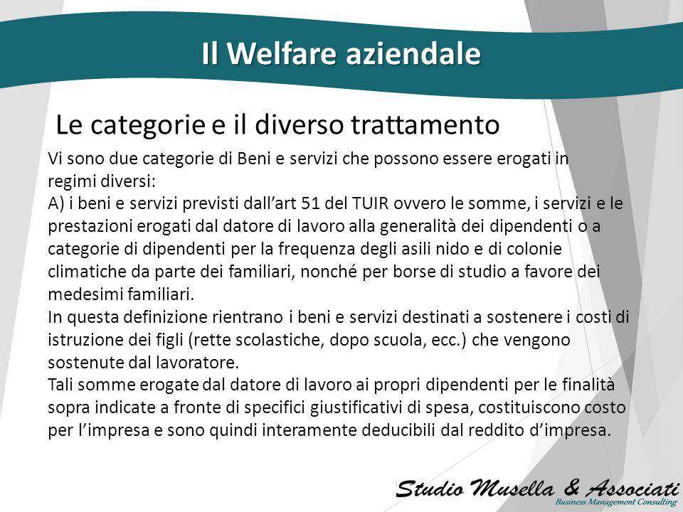 Il Welfare aziendale Le categorie e il diverso trattamento