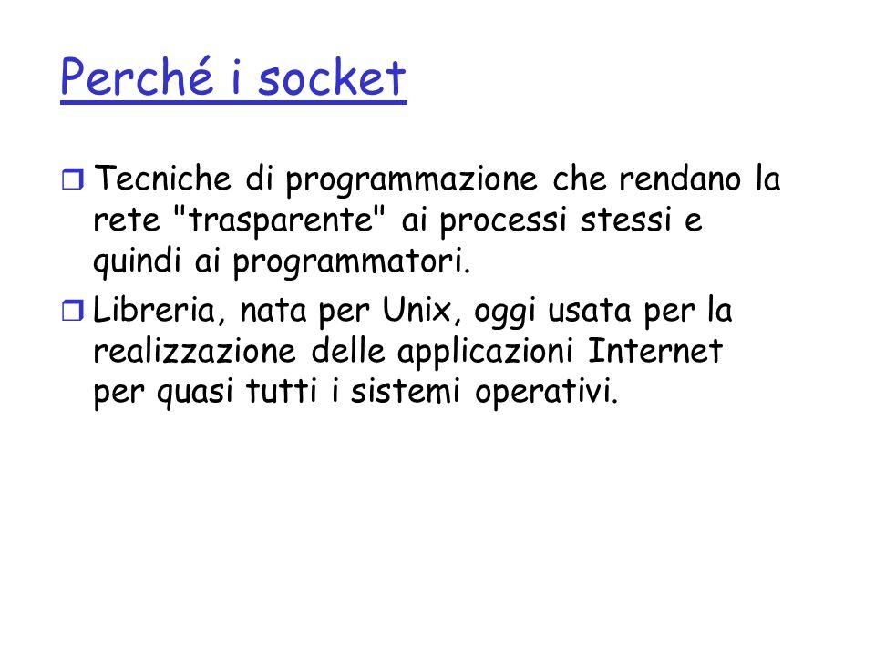 Perché i socket Tecniche di programmazione che rendano la rete trasparente ai processi stessi e quindi ai programmatori.