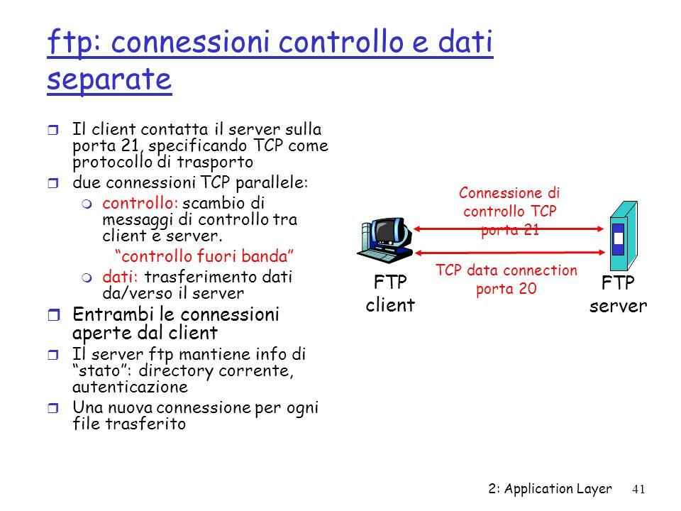 ftp: connessioni controllo e dati separate