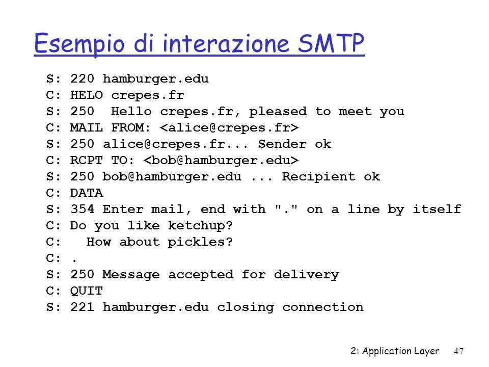 Esempio di interazione SMTP