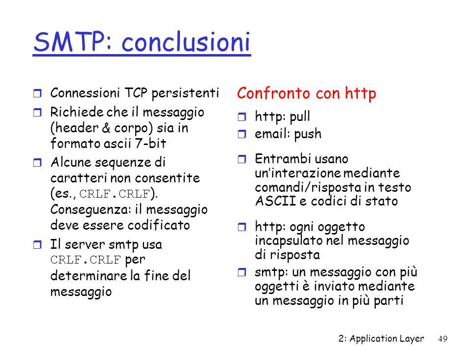 SMTP: conclusioni Confronto con http Connessioni TCP persistenti
