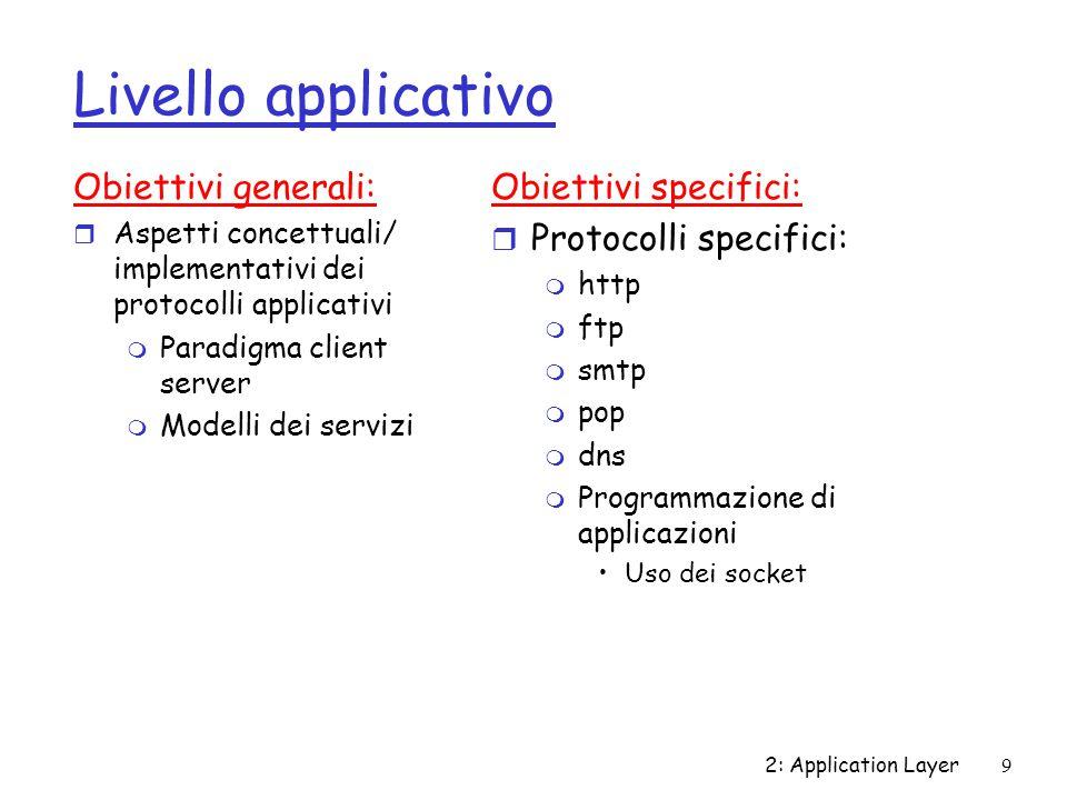 Livello applicativo Obiettivi generali: Obiettivi specifici: