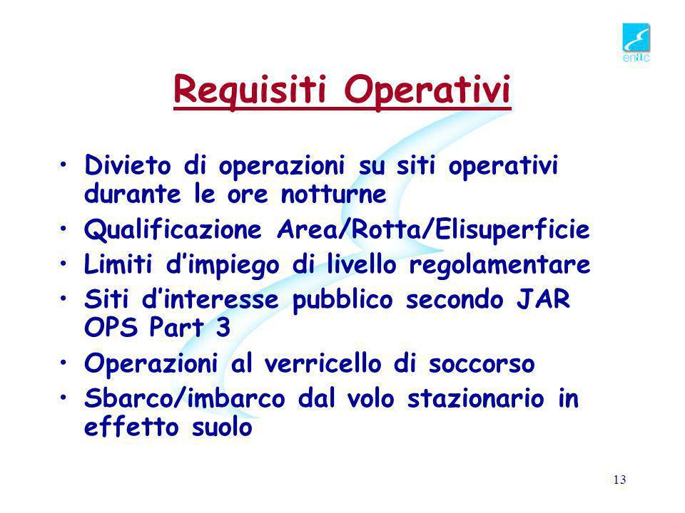 Requisiti Operativi Divieto di operazioni su siti operativi durante le ore notturne. Qualificazione Area/Rotta/Elisuperficie.
