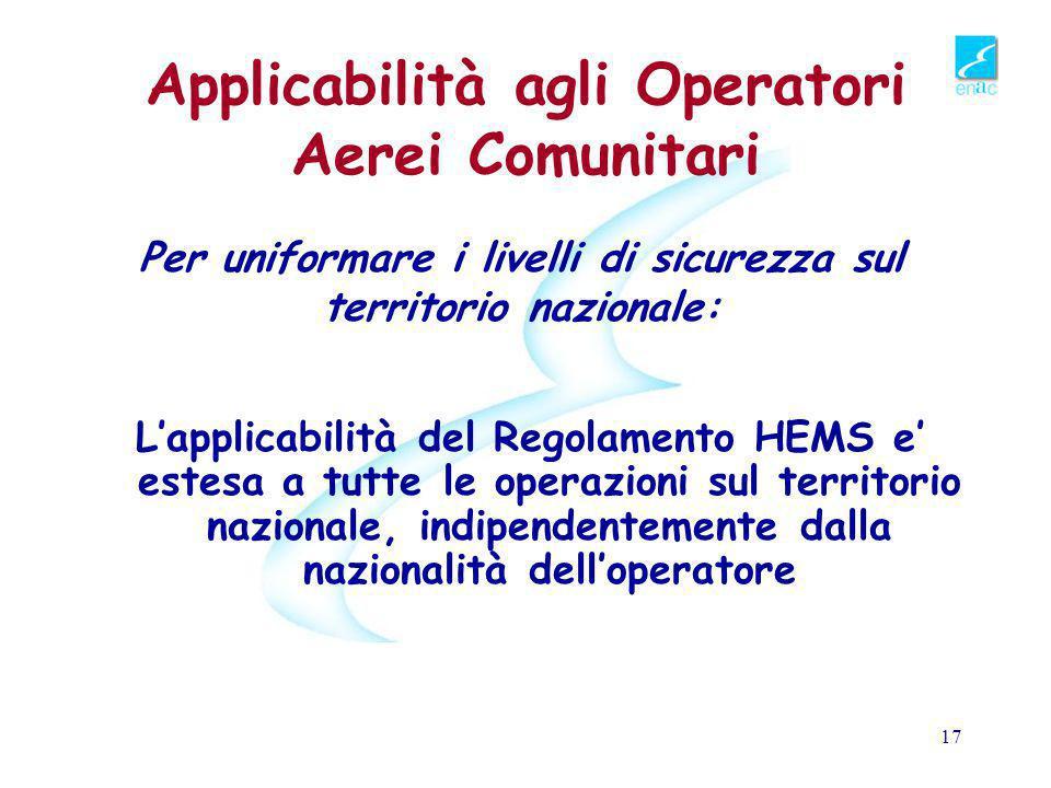 Applicabilità agli Operatori Aerei Comunitari