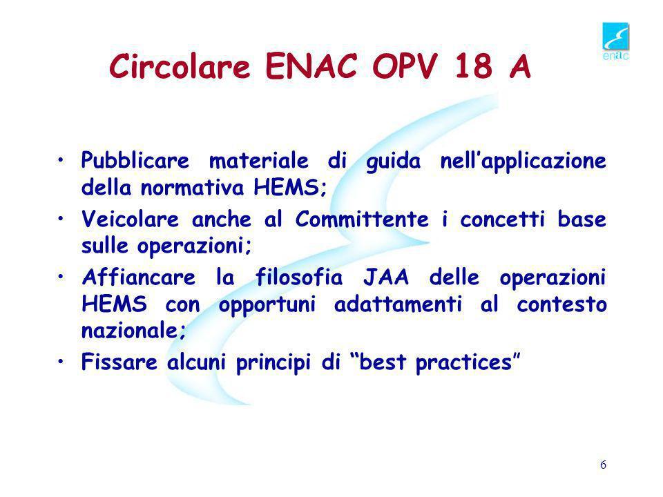Circolare ENAC OPV 18 A Pubblicare materiale di guida nell'applicazione della normativa HEMS;
