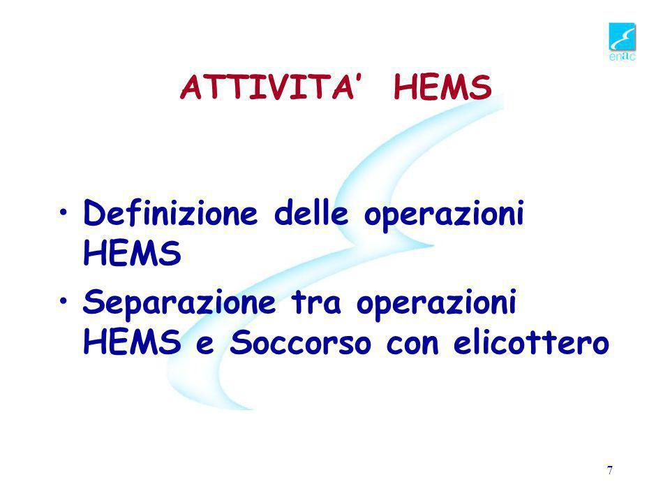 ATTIVITA' HEMS Definizione delle operazioni HEMS.