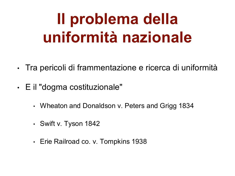 Il problema della uniformità nazionale
