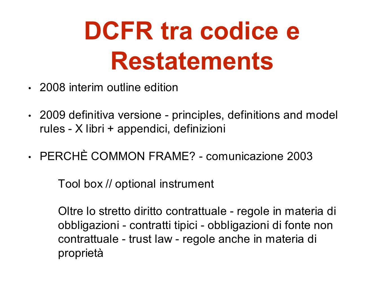 DCFR tra codice e Restatements