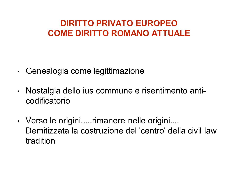 DIRITTO PRIVATO EUROPEO COME DIRITTO ROMANO ATTUALE