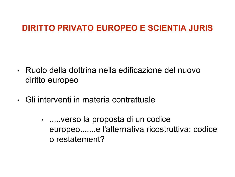 DIRITTO PRIVATO EUROPEO E SCIENTIA JURIS