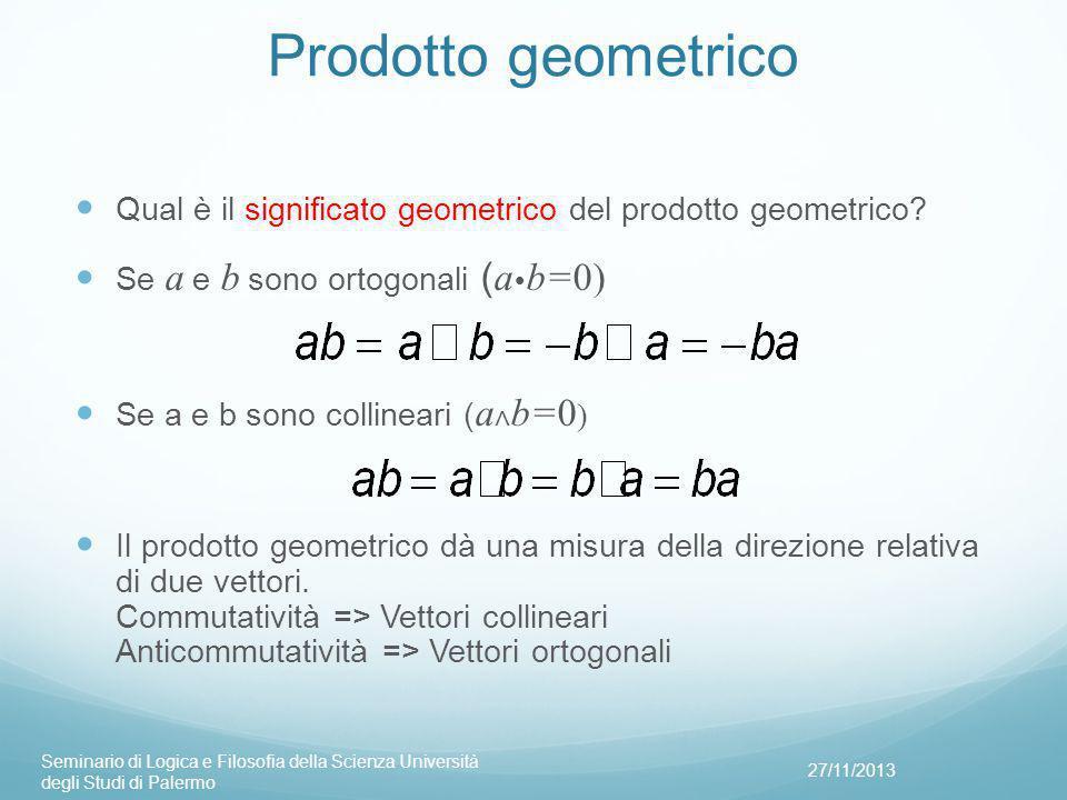 Prodotto geometrico Qual è il significato geometrico del prodotto geometrico Se a e b sono ortogonali (ab=0)