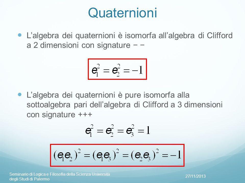 Quaternioni L'algebra dei quaternioni è isomorfa all'algebra di Clifford a 2 dimensioni con signature − −