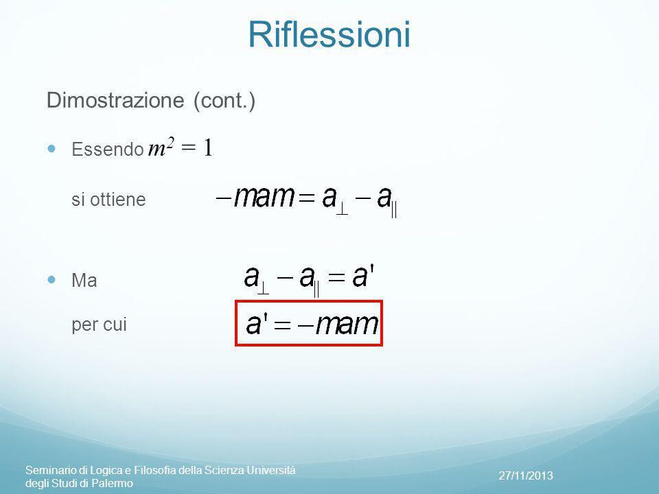 Riflessioni Dimostrazione (cont.) Essendo m2 = 1 si ottiene Ma per cui