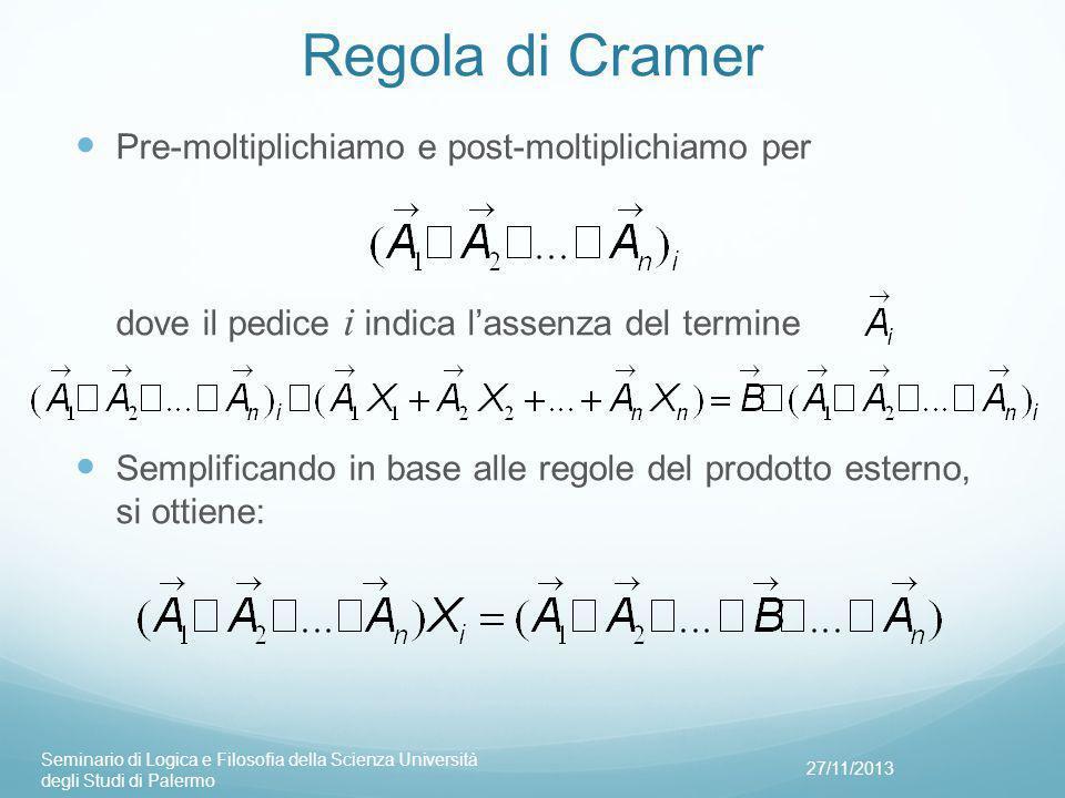 Regola di Cramer Pre-moltiplichiamo e post-moltiplichiamo per dove il pedice i indica l'assenza del termine.