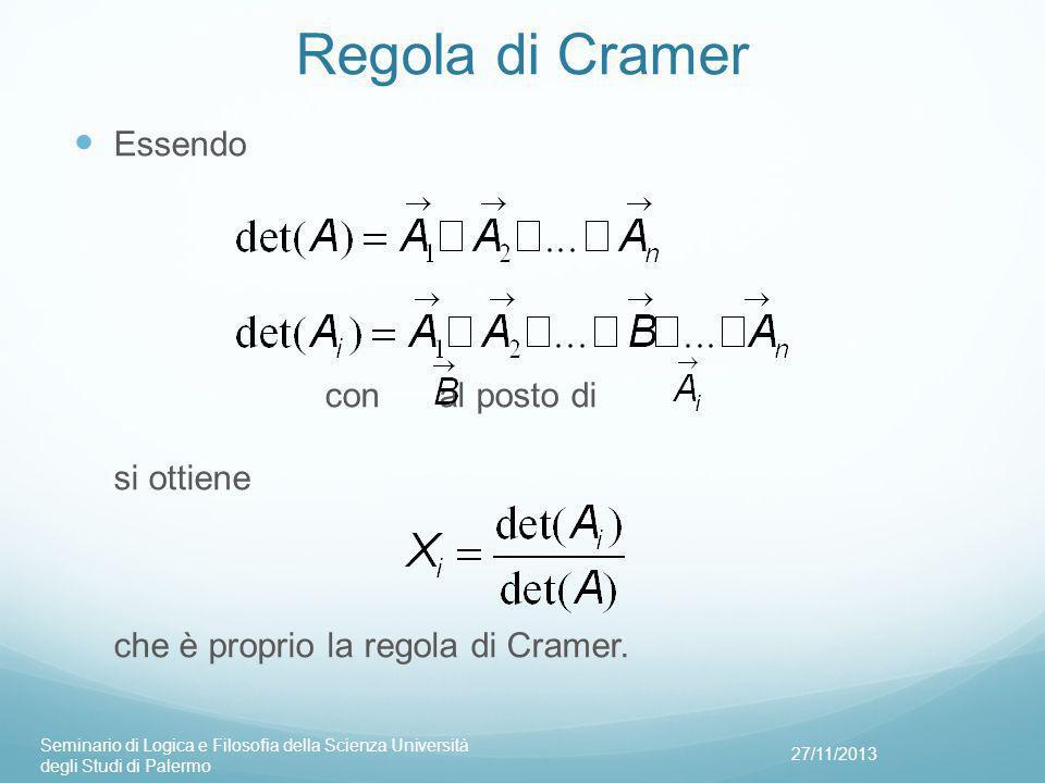 Regola di Cramer Essendo con al posto di si ottiene che è proprio la regola di Cramer.