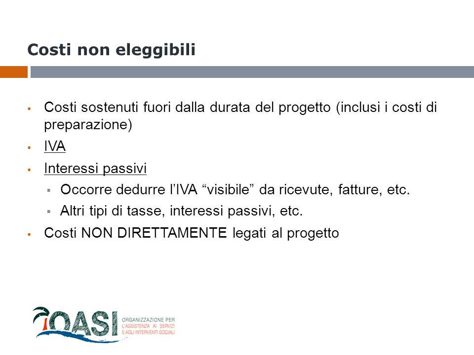 Costi non eleggibili Costi sostenuti fuori dalla durata del progetto (inclusi i costi di preparazione)