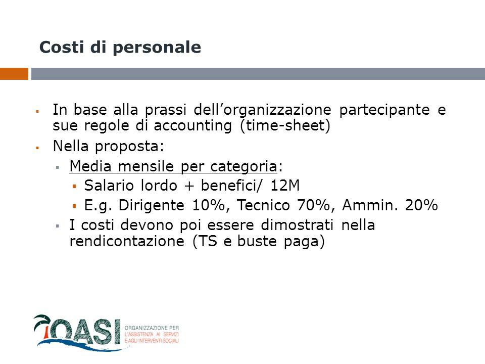 Costi di personale In base alla prassi dell'organizzazione partecipante e sue regole di accounting (time-sheet)
